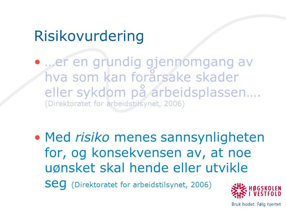 Risikovurdering …er en grundig gjennomgang av hva som kan forårsake skader eller sykdom på arbeidsplassen…. (Direktoratet for arbeidstilsynet, 2006)