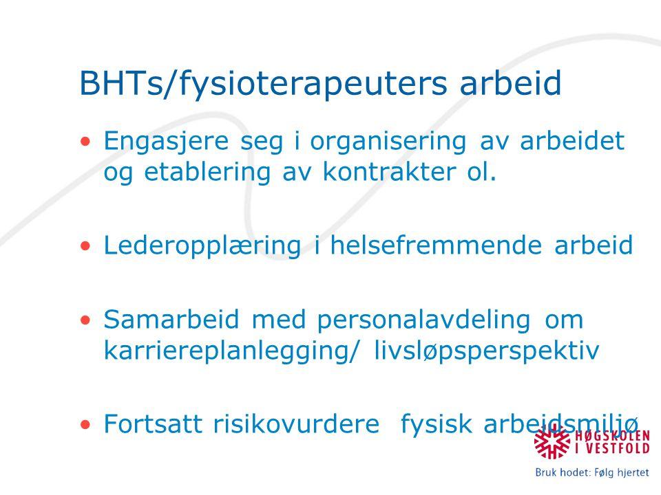 BHTs/fysioterapeuters arbeid