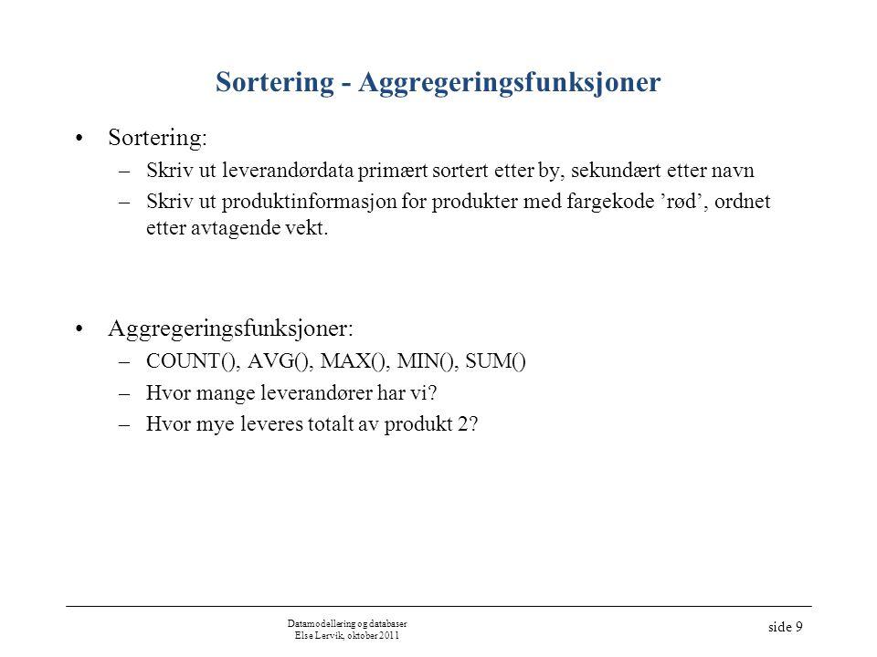 Sortering - Aggregeringsfunksjoner