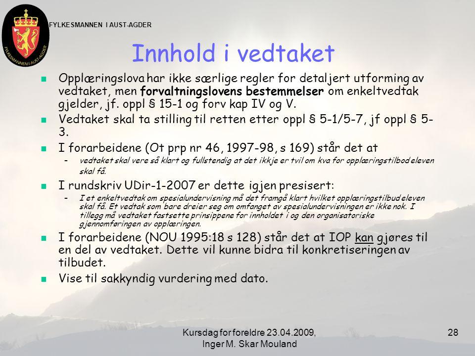 Kursdag for foreldre 23.04.2009, Inger M. Skar Mouland