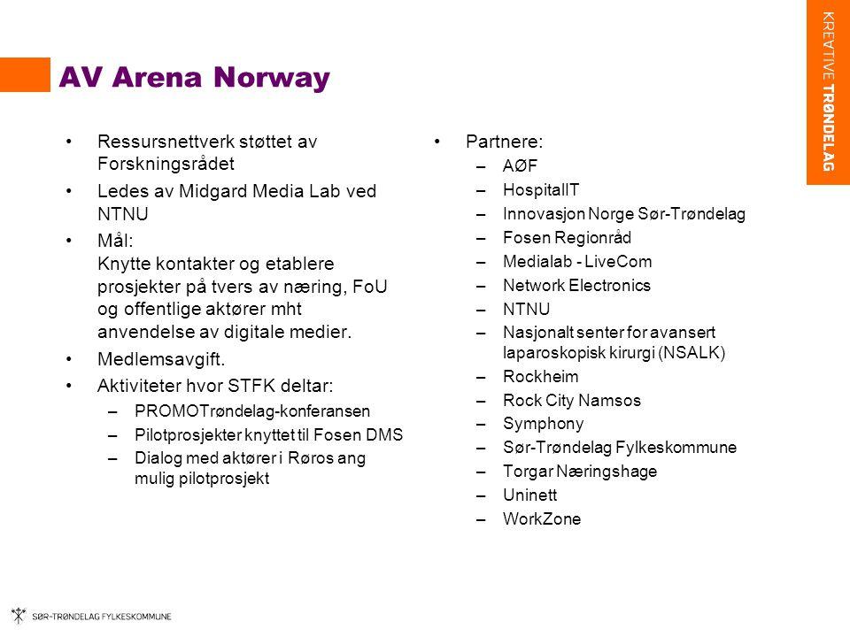 AV Arena Norway Ressursnettverk støttet av Forskningsrådet