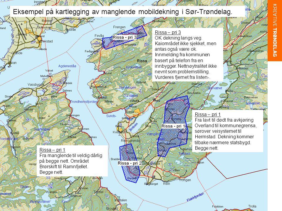 Eksempel på kartlegging av manglende mobildekning i Sør-Trøndelag.