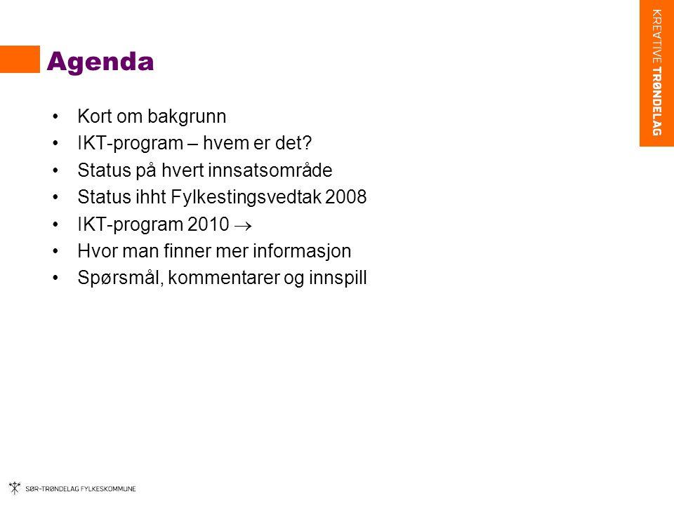 Agenda Kort om bakgrunn IKT-program – hvem er det