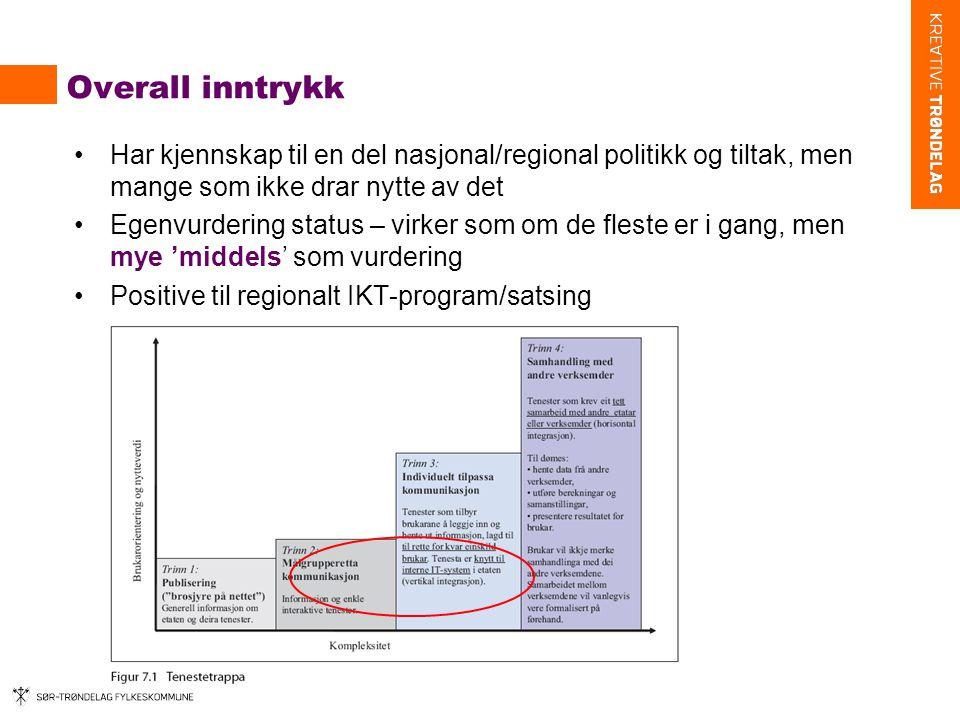 Overall inntrykk Har kjennskap til en del nasjonal/regional politikk og tiltak, men mange som ikke drar nytte av det.