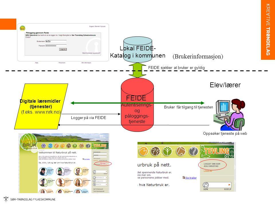 Elev/lærer FEIDE Lokal FEIDE- Katalog i kommunen (Brukerinformasjon)