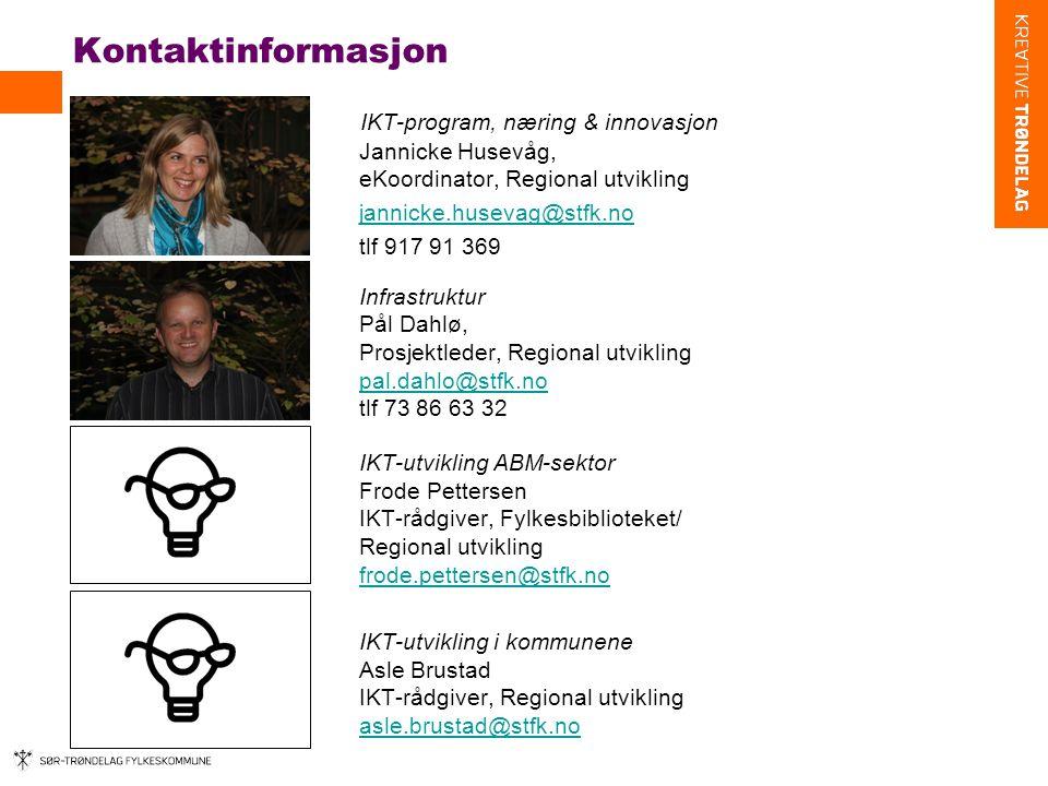 Kontaktinformasjon IKT-program, næring & innovasjon Jannicke Husevåg, eKoordinator, Regional utvikling.