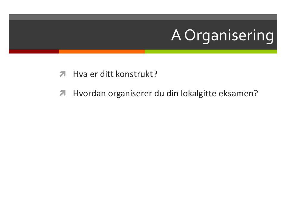 A Organisering Hva er ditt konstrukt
