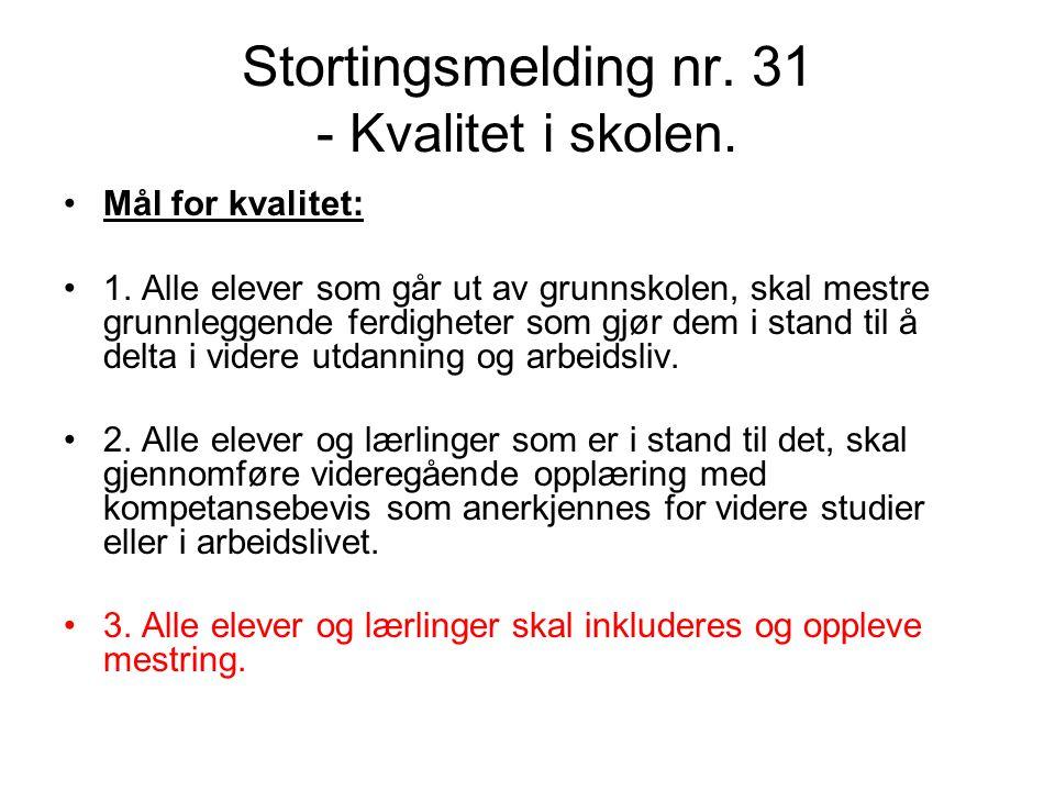 Stortingsmelding nr. 31 - Kvalitet i skolen.