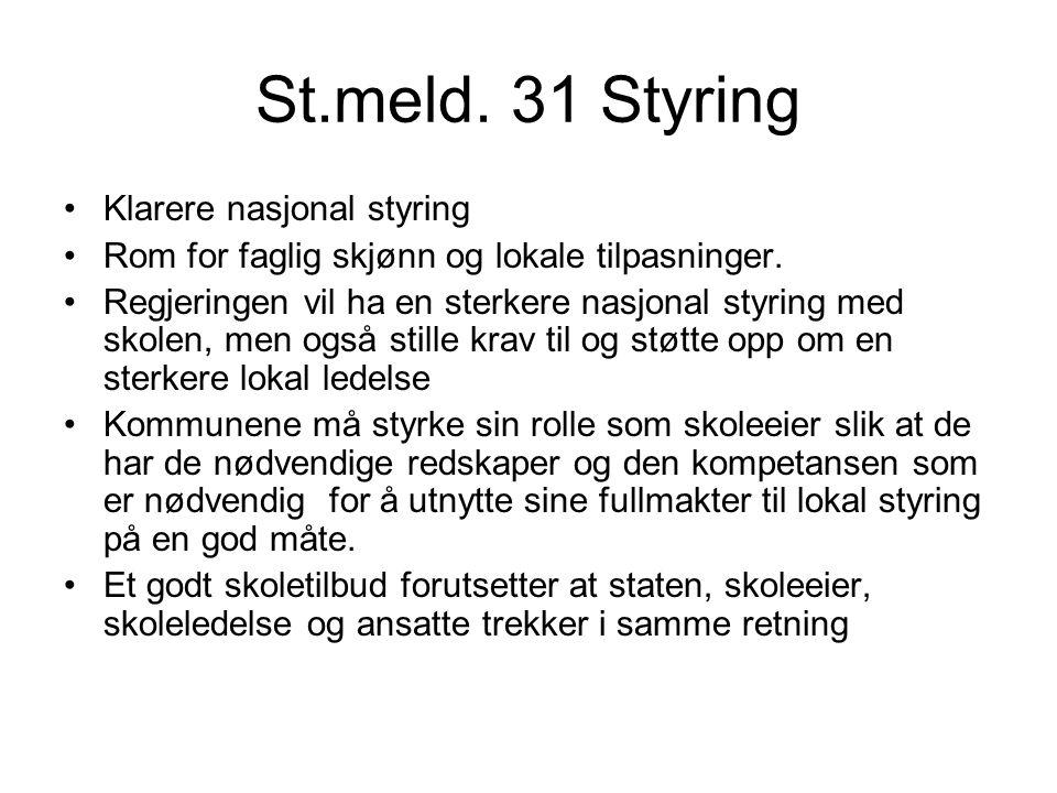 St.meld. 31 Styring Klarere nasjonal styring