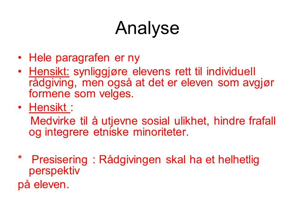 Analyse Hele paragrafen er ny