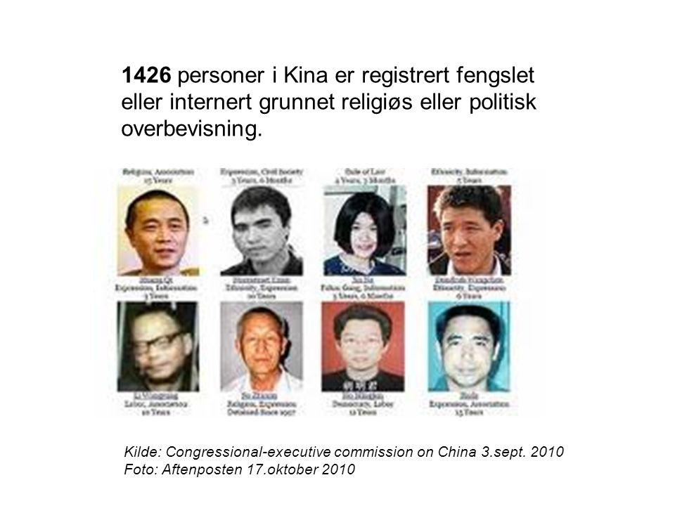 1426 personer i Kina er registrert fengslet eller internert grunnet religiøs eller politisk overbevisning.