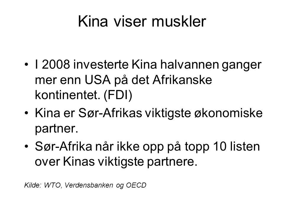 Kina viser muskler I 2008 investerte Kina halvannen ganger mer enn USA på det Afrikanske kontinentet. (FDI)