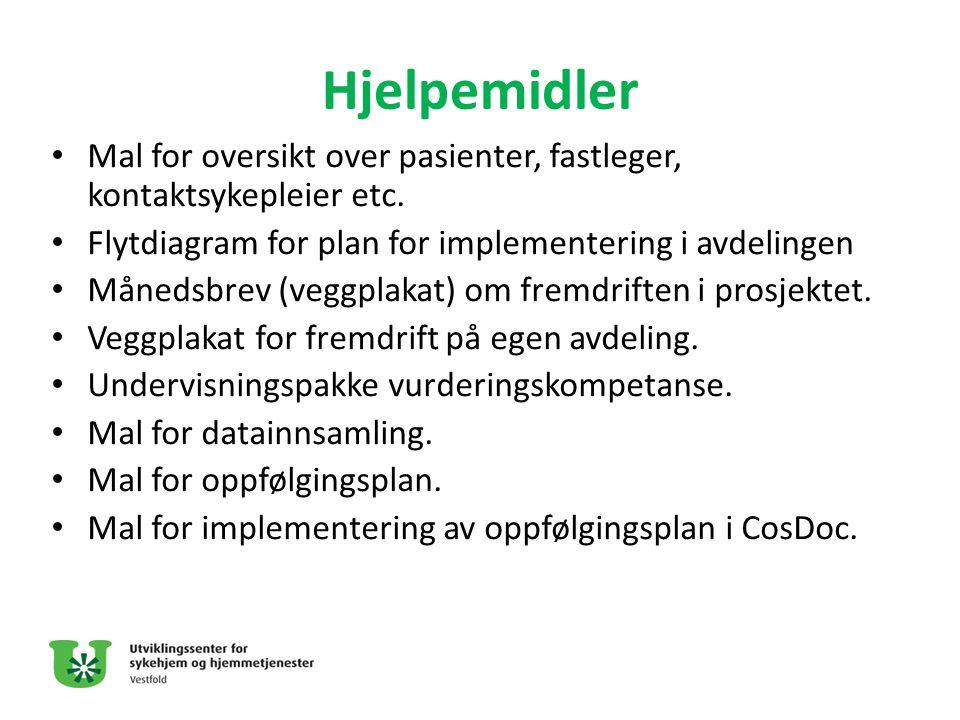 Hjelpemidler Mal for oversikt over pasienter, fastleger, kontaktsykepleier etc. Flytdiagram for plan for implementering i avdelingen.