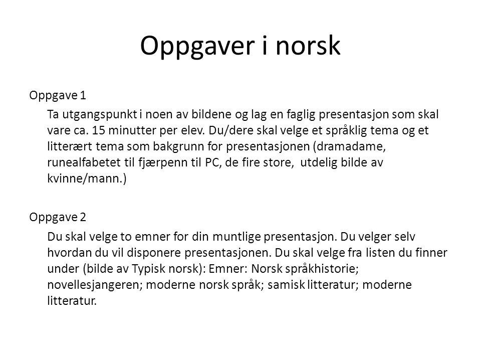Oppgaver i norsk