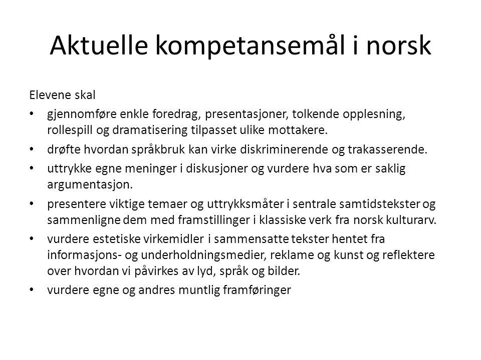 Aktuelle kompetansemål i norsk
