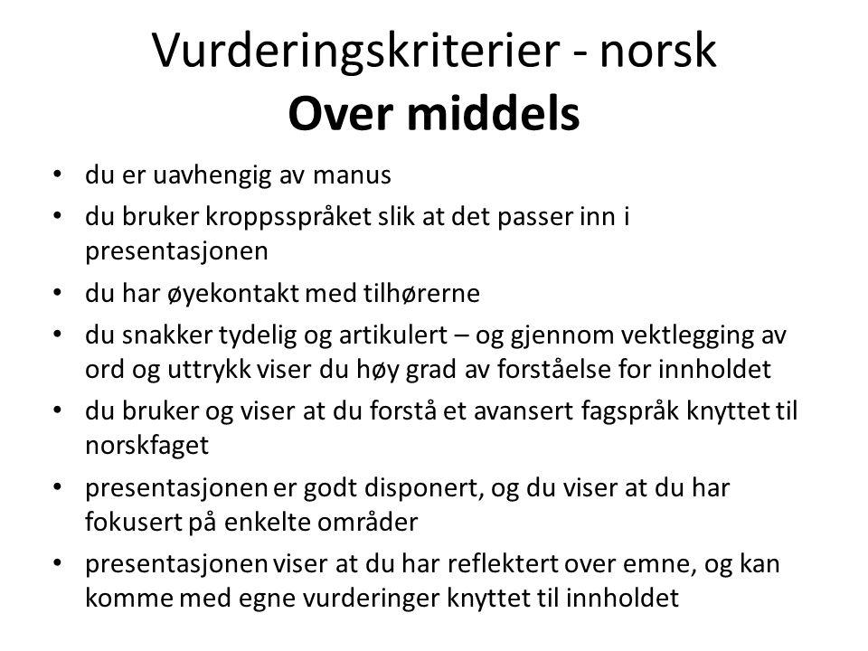 Vurderingskriterier - norsk Over middels