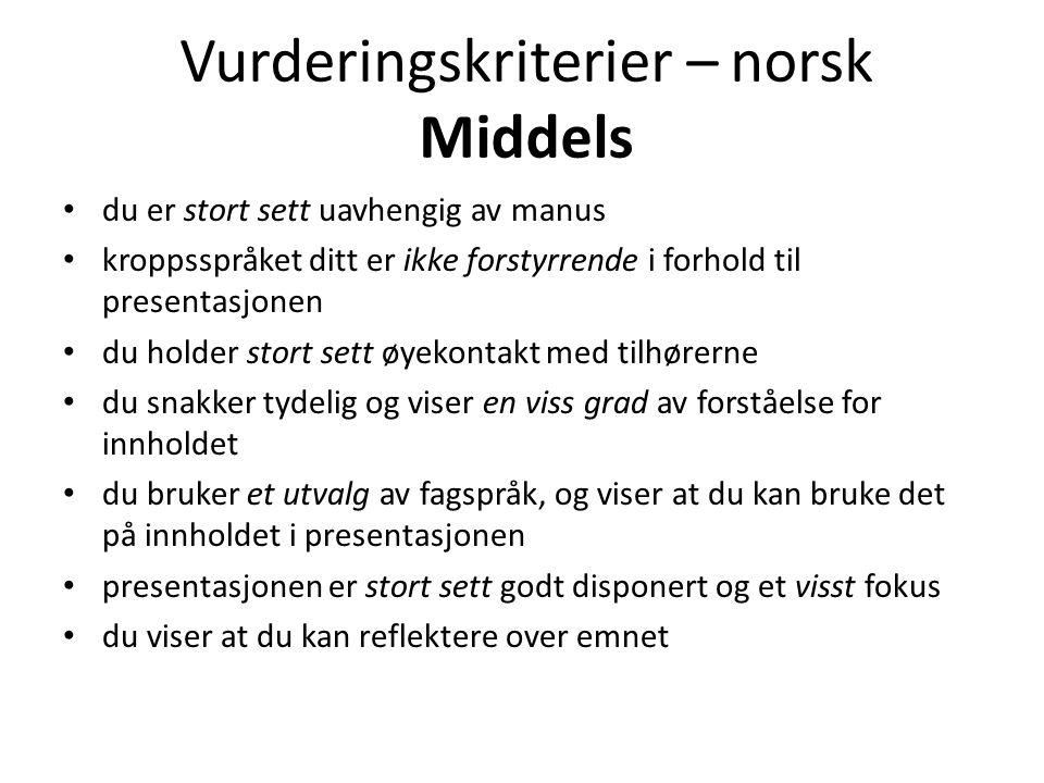 Vurderingskriterier – norsk Middels
