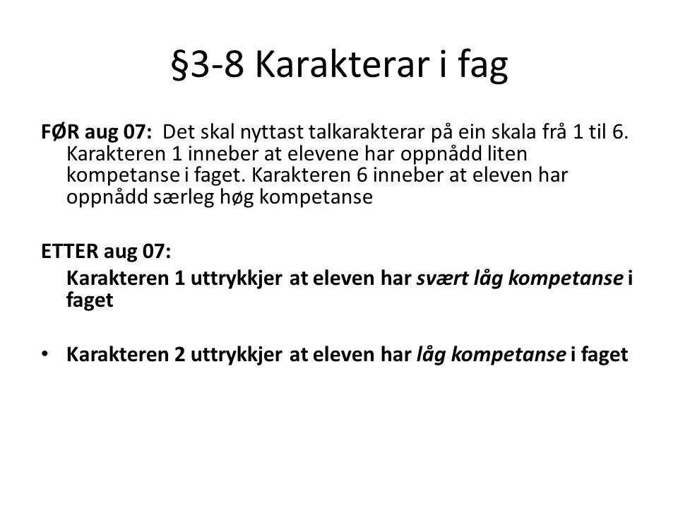 §3-8 Karakterar i fag