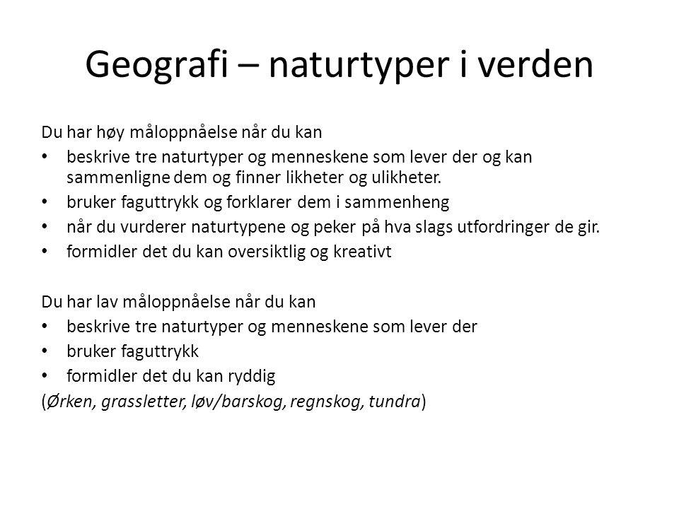 Geografi – naturtyper i verden