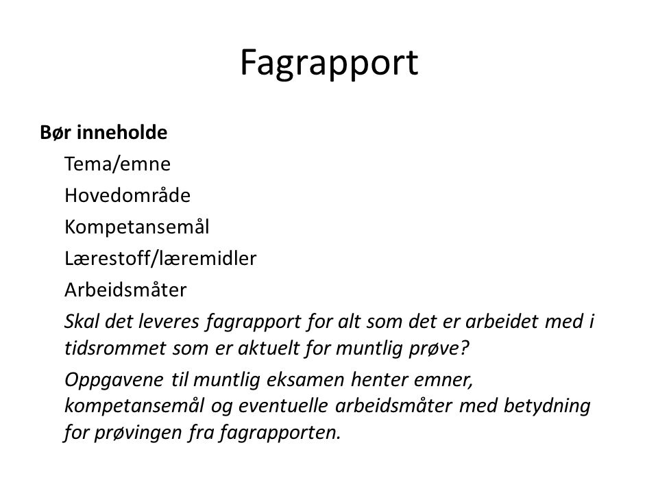 Fagrapport