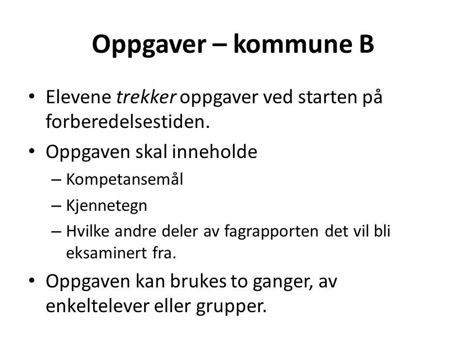 Oppgaver – kommune B Elevene trekker oppgaver ved starten på forberedelsestiden. Oppgaven skal inneholde.