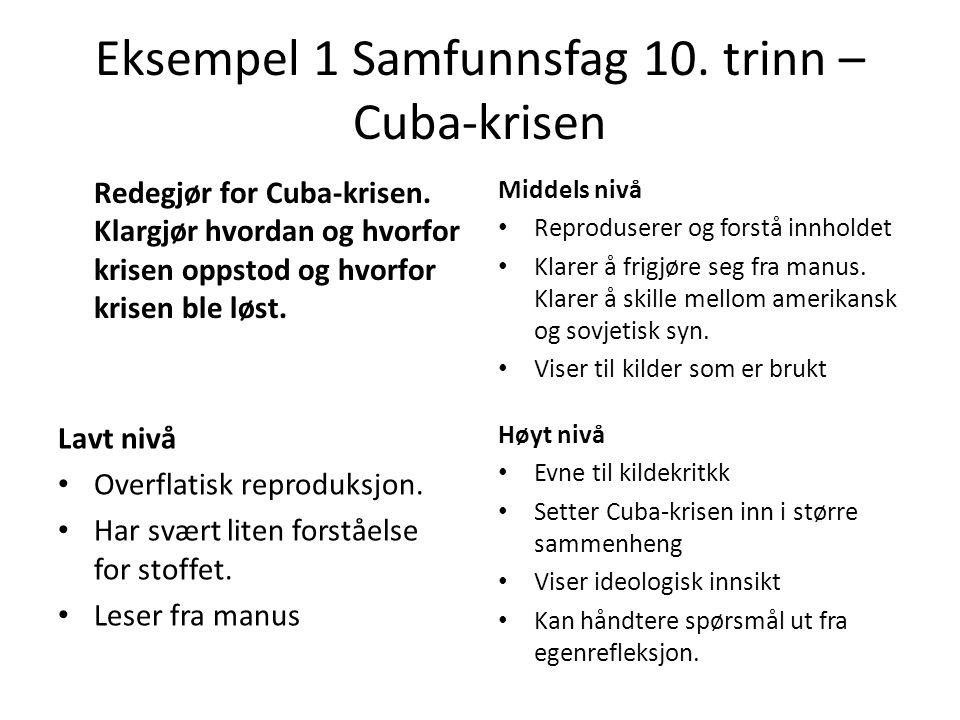 Eksempel 1 Samfunnsfag 10. trinn –Cuba-krisen