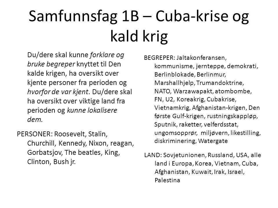 Samfunnsfag 1B – Cuba-krise og kald krig