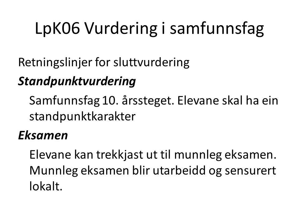 LpK06 Vurdering i samfunnsfag
