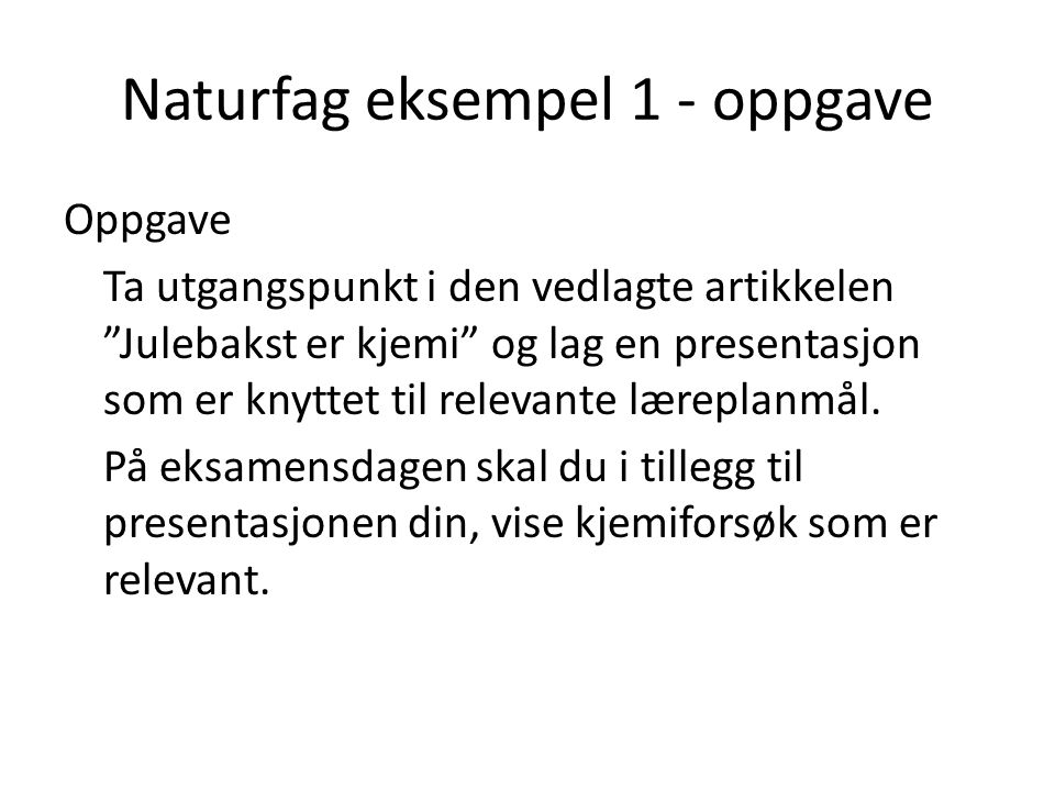 Naturfag eksempel 1 - oppgave