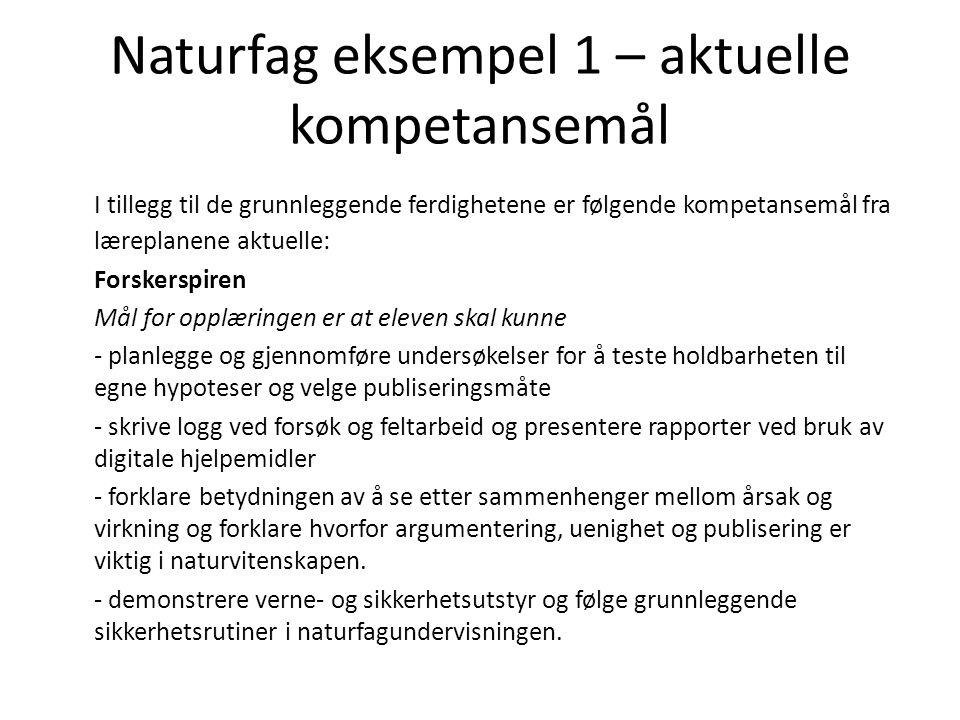 Naturfag eksempel 1 – aktuelle kompetansemål