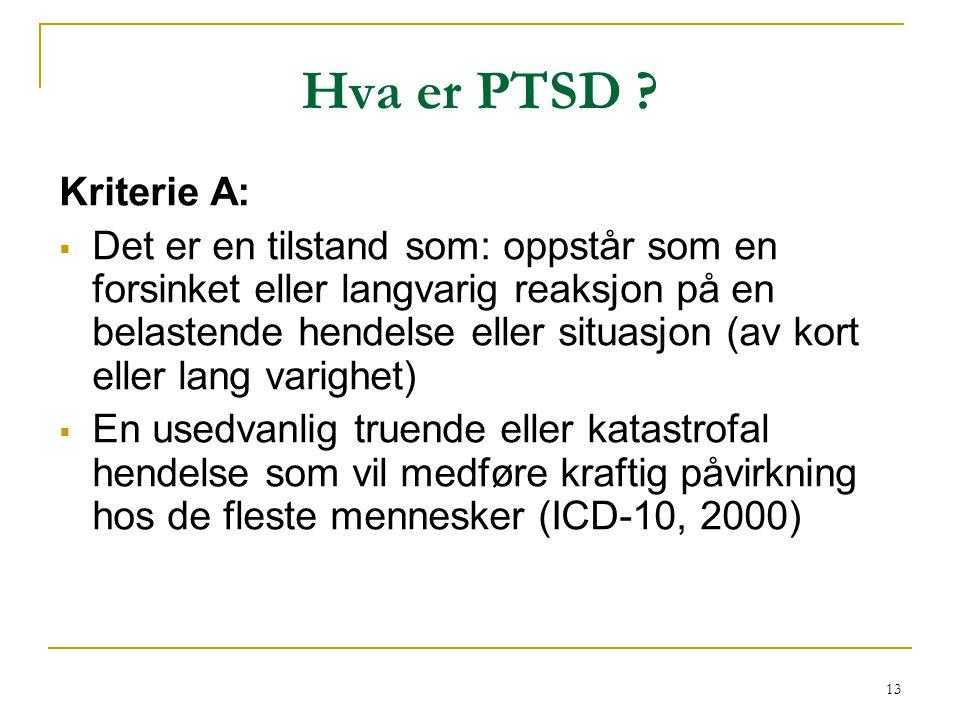 Hva er PTSD Kriterie A: