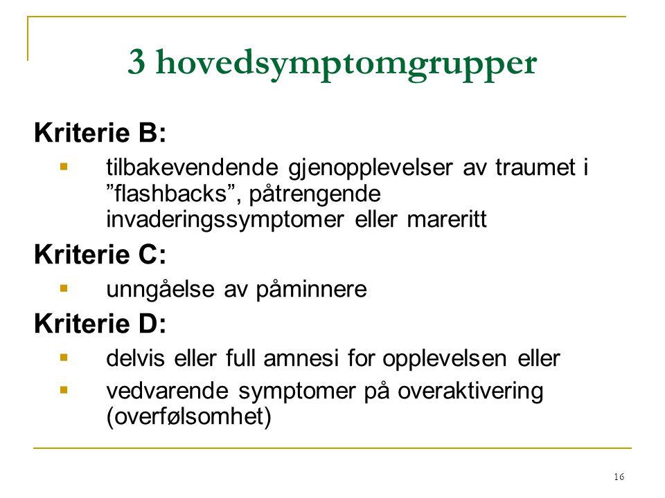 3 hovedsymptomgrupper Kriterie B: Kriterie C: Kriterie D: