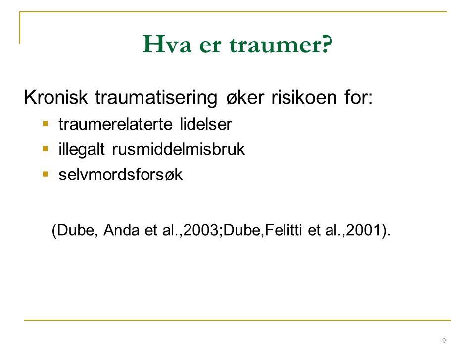 Hva er traumer Kronisk traumatisering øker risikoen for: