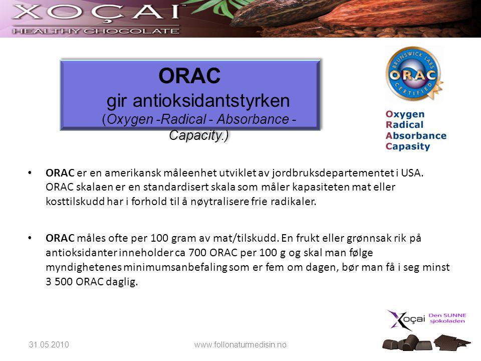 ORAC gir antioksidantstyrken (Oxygen -Radical - Absorbance - Capacity