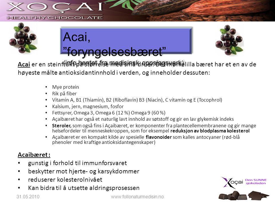 Acai, foryngelsesbæret (info,hentet fra medisinsk oppslagsverk)