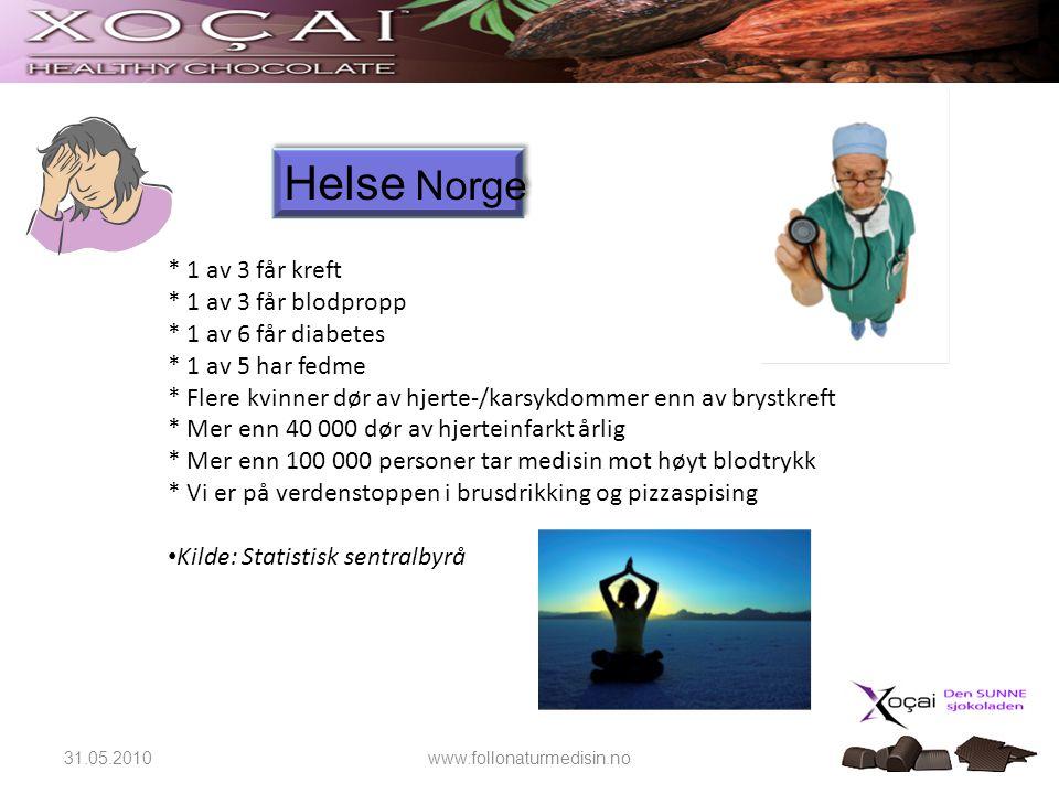 Helse Norge * 1 av 3 får kreft * 1 av 3 får blodpropp