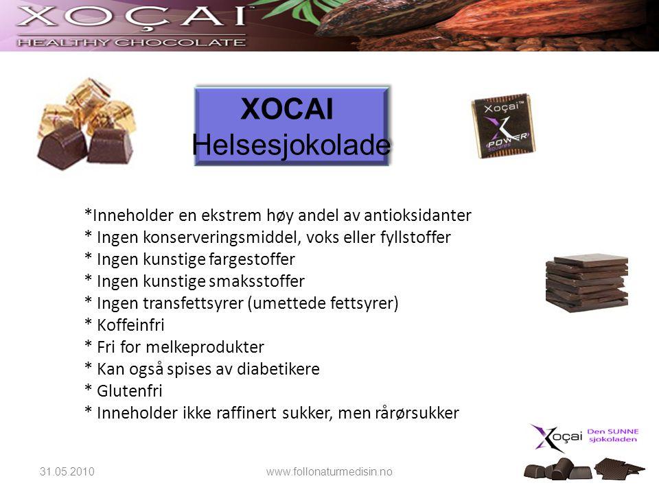 XOCAI Helsesjokolade. *Inneholder en ekstrem høy andel av antioksidanter. * Ingen konserveringsmiddel, voks eller fyllstoffer.