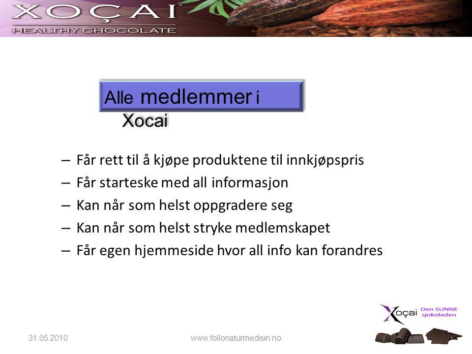 Alle medlemmer i Xocai Får rett til å kjøpe produktene til innkjøpspris. Får starteske med all informasjon.