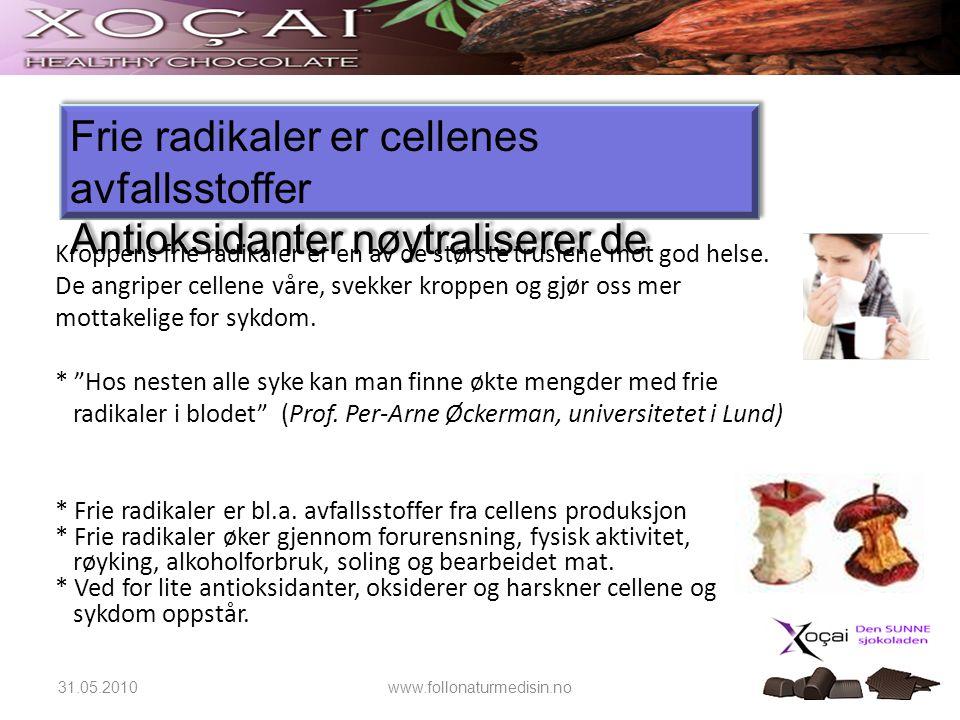 Frie radikaler er cellenes avfallsstoffer Antioksidanter nøytraliserer de