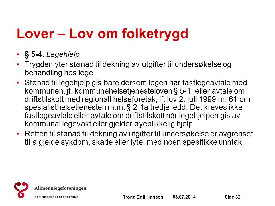 Lover – Lov om folketrygd