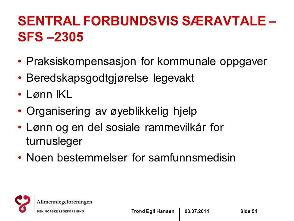 SENTRAL FORBUNDSVIS SÆRAVTALE – SFS –2305