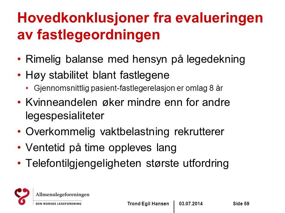 Hovedkonklusjoner fra evalueringen av fastlegeordningen