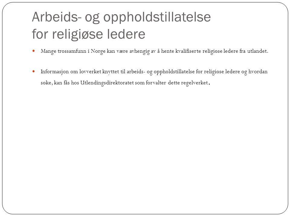 Arbeids- og oppholdstillatelse for religiøse ledere