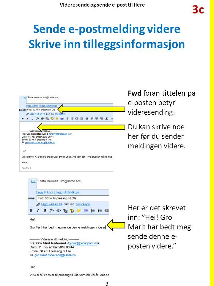 Sende e-postmelding videre Skrive inn tilleggsinformasjon