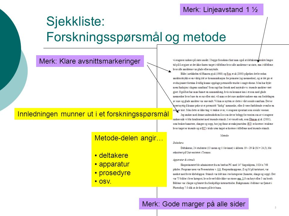 Sjekkliste: Forskningsspørsmål og metode