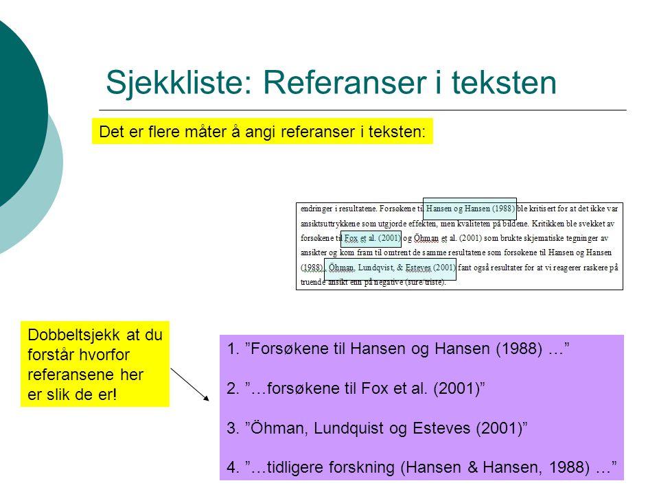 Sjekkliste: Referanser i teksten