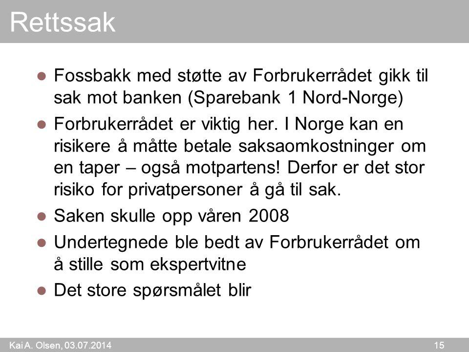 Rettssak Fossbakk med støtte av Forbrukerrådet gikk til sak mot banken (Sparebank 1 Nord-Norge)
