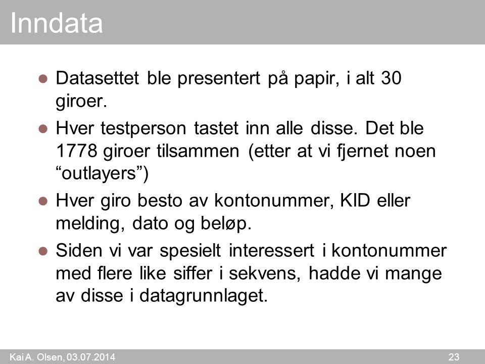 Inndata Datasettet ble presentert på papir, i alt 30 giroer.