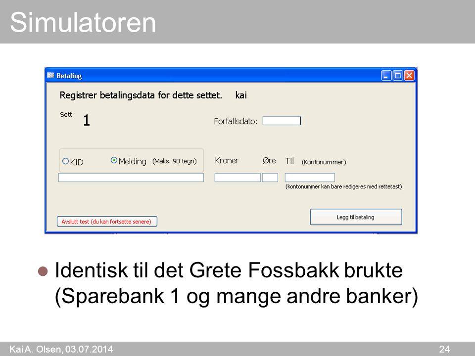 Simulatoren Identisk til det Grete Fossbakk brukte (Sparebank 1 og mange andre banker)