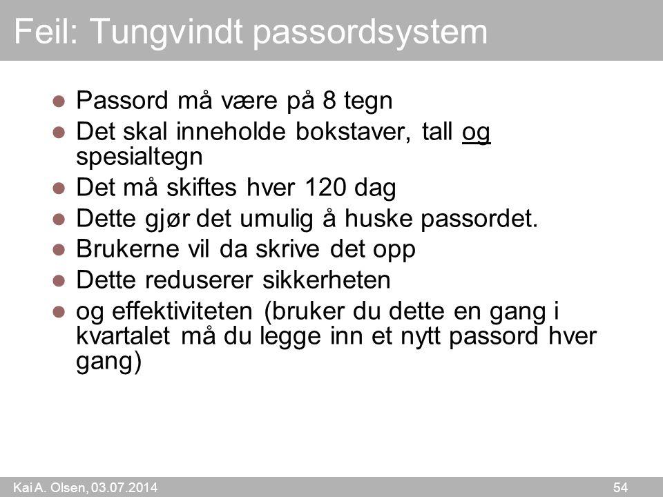 Feil: Tungvindt passordsystem